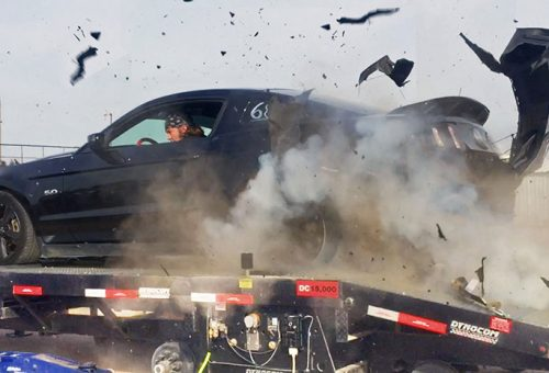 Mustang's Tire Explodes on a Dyno