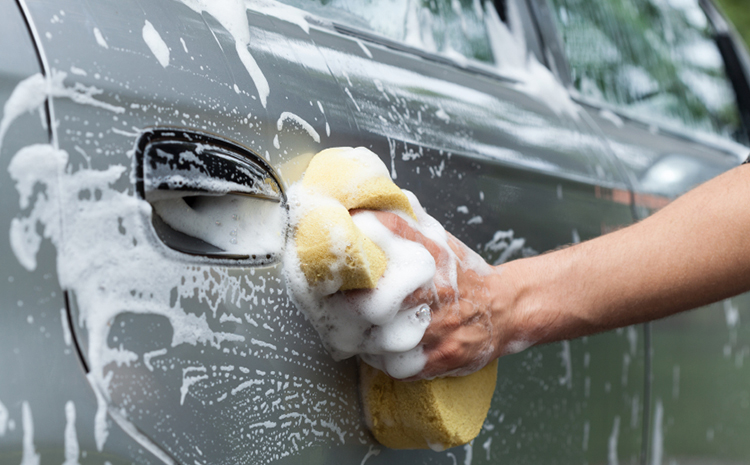Use a wet sponge when washing your car