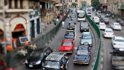 Bumper to bumper traffic shows Cairo to be one of the most dangerous places to drive