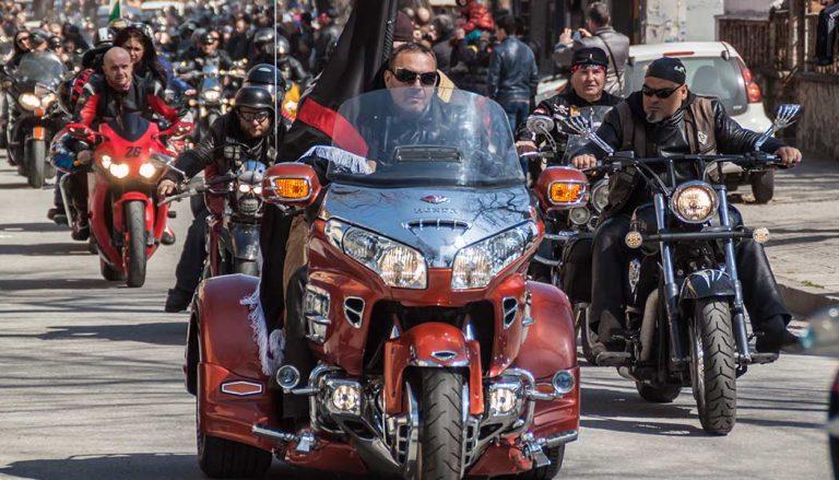 A three-wheeled biker trike