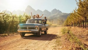 People having fun shows one of the benefits of having a pickup truck