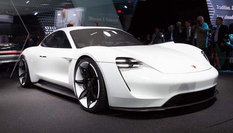 A white Porsche Mission E