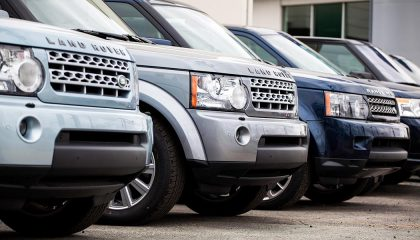 Land Rovers in a row