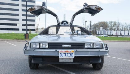 Futuristic cars like the Delorean