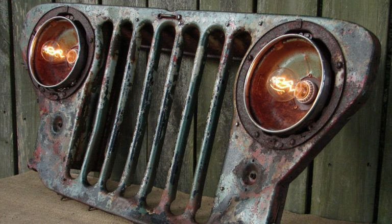 Repurpose Old Car Parts, like this grill made from a car hood