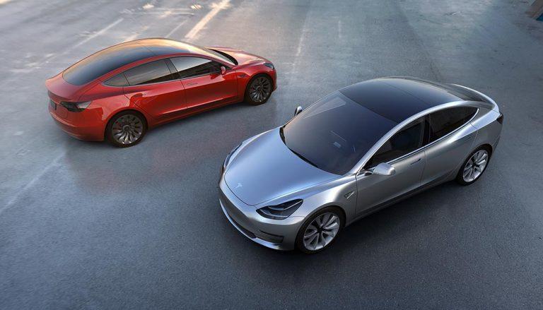 A sleek, electric Tesla Model 3