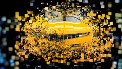 A pixelated image of future concept cars