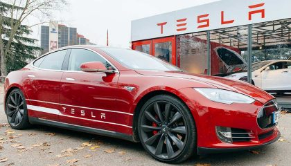 A Tesla shows the how much attention the vehicle commands