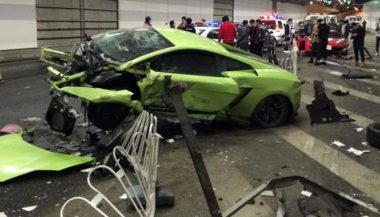 An epic accident shows the carnage involved with supercar crashes