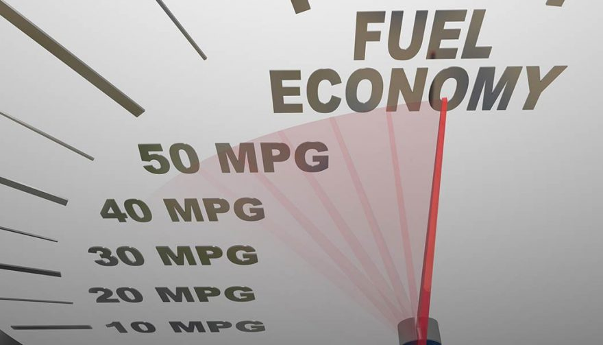 A gauge indicates that fuel economy drops with oil prices