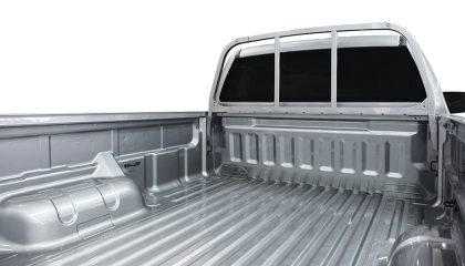 A truck bed that is the focus of chevrolet anti-aluminum ads