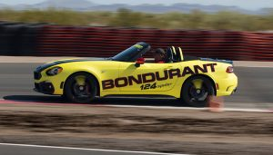 An Abarth on the Bondurant driving school track