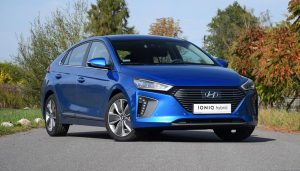 A Hyundai Ioniq EV on the road prior to release