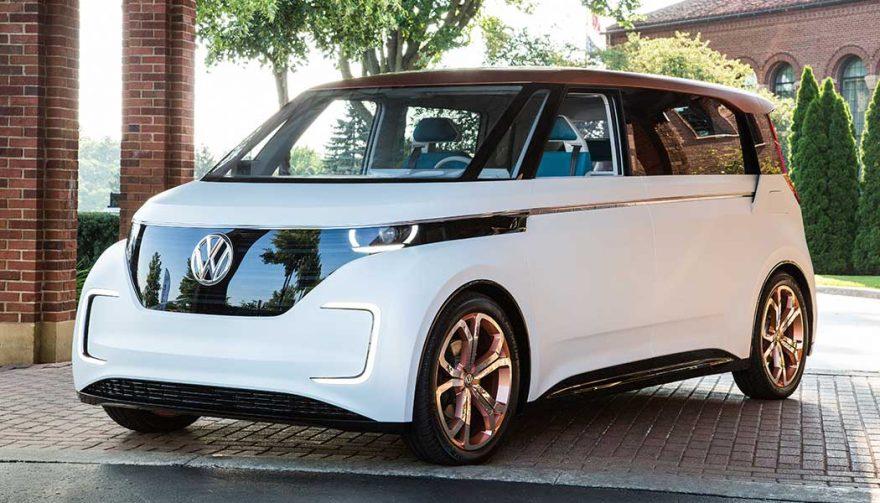 A Volkswagen BUDD-e electric microbus