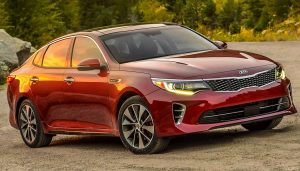 A maroon 2016 Kia Optima