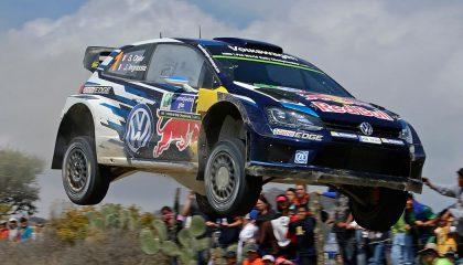 A Volkswagen hot hatch makes a jump