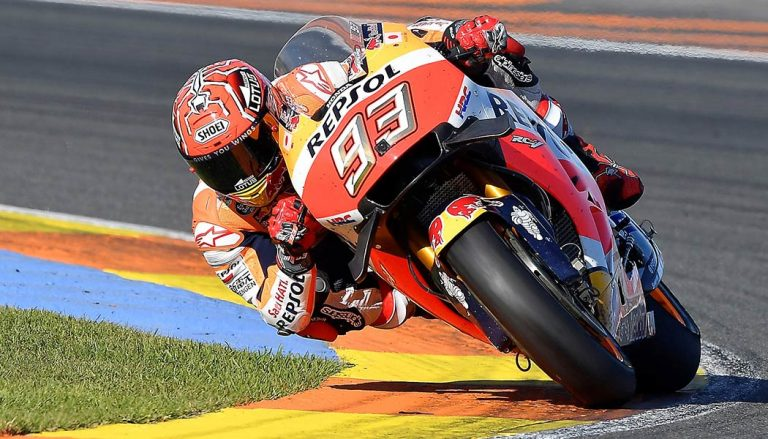 Marc Marquez rode his Respol Honda RC213V in his third MotoGP title in four years.