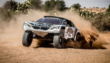 The new Peugeot 3008 DKR slings some sand.