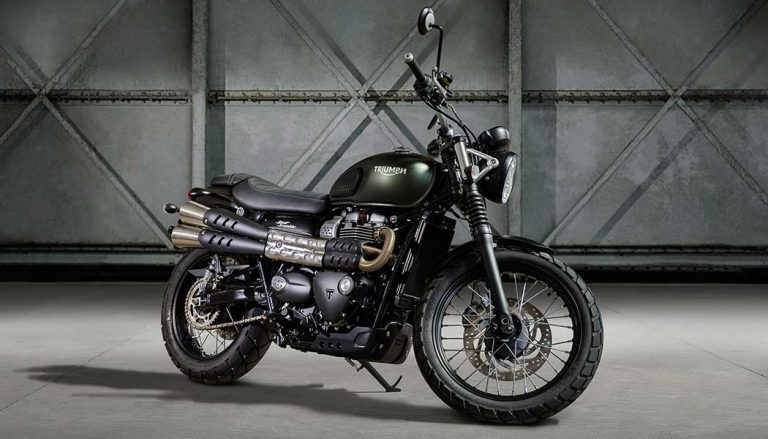A Triumph Street Scrambler was one of many attractive bikes on display at the 2016 Milan Bike Show