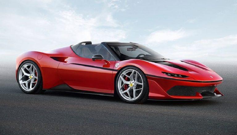A red Ferrari J50 with futuristic design