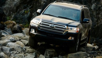 With new off-road technology a Toyota Land Cruiser negotiates some rocks