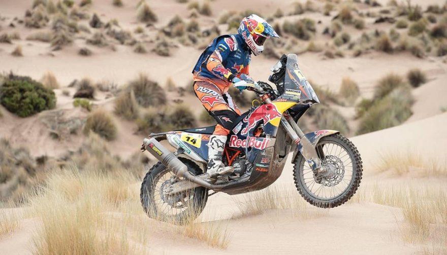 Racer Sam Sunderland wins the Dakar Rally Bikes division