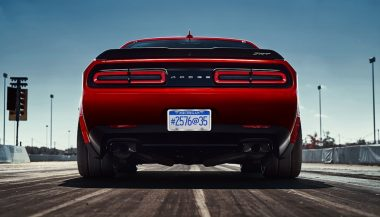 The rear of the Dodge Demon shows the car's wide body frame.