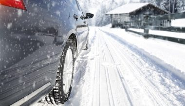 A car driving in snow