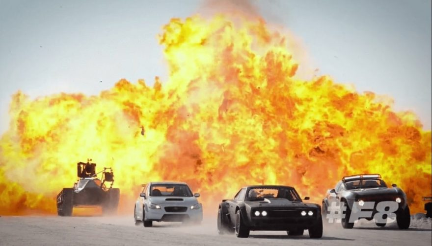 "A fiery scene from the latest ""Fast and Furious"" movie"