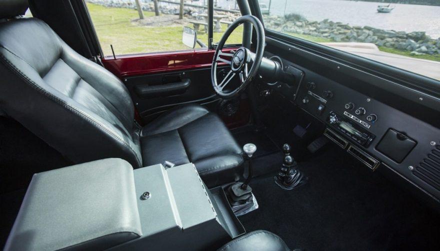 The interior of a custom 1976 Ford Bronco