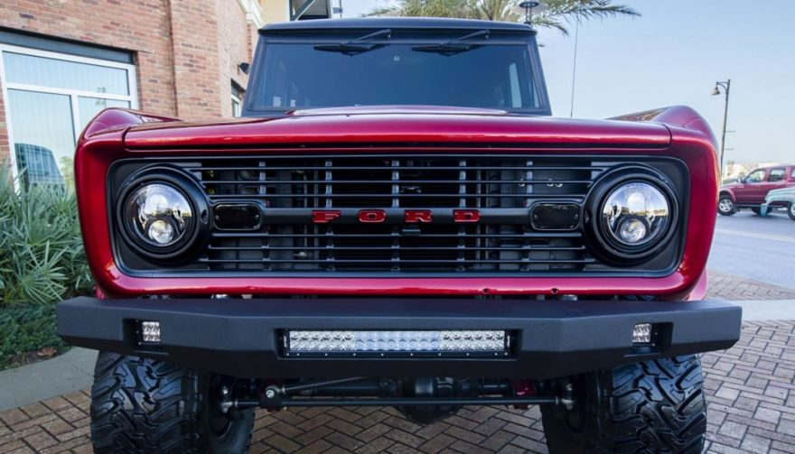 The front grille of a custom 1976 Ford Bronco