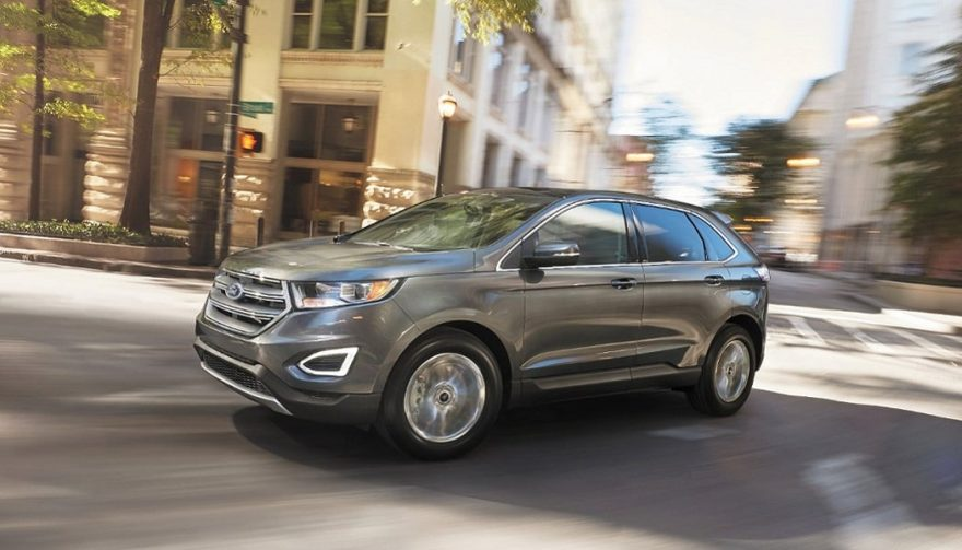 The 2017 Ford Edge in a city setting
