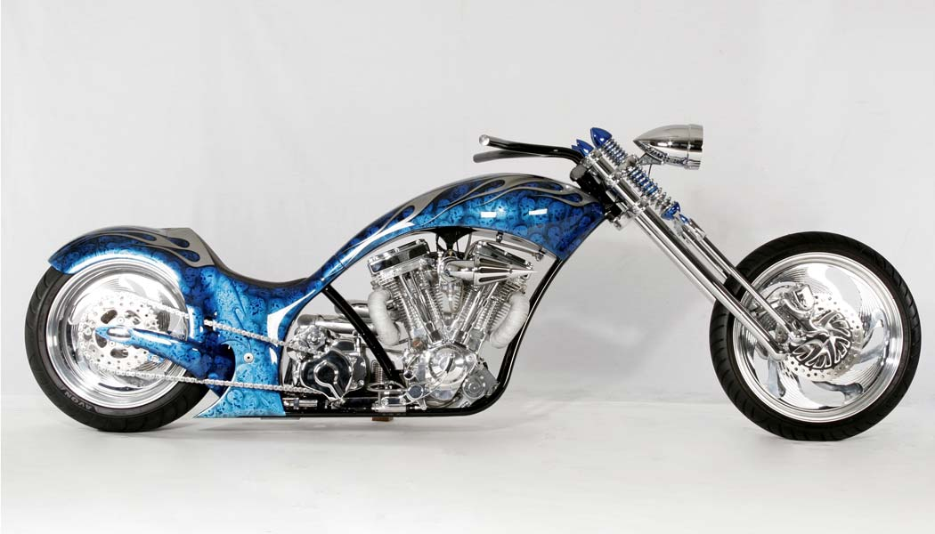 A custom motorcycle designed for tall riders