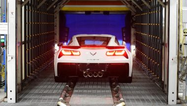 A car rolls off the production line at the Corvette Assembly Plant