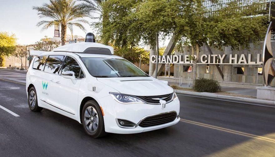 A minivan using Waymo self-driving technology