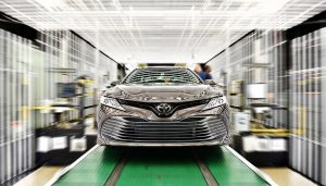 A 2018 Toyota Camry rolls off the production line