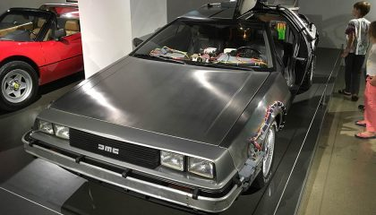 A DeLorean DMC-12 from Back to the Future is on display at the Petersen Automotive Museum