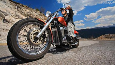 A rider on a motorcycle road trip