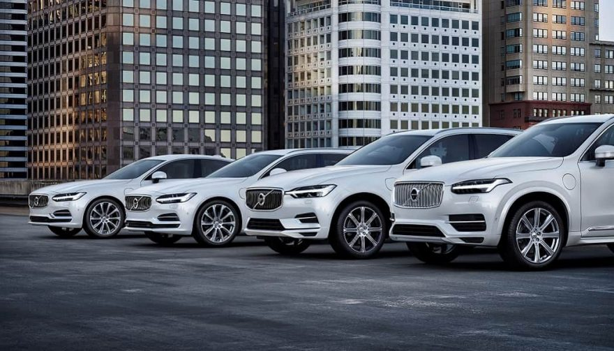 A range of Volvo electric cars