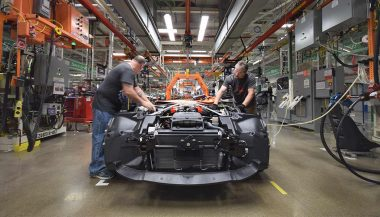 Workers at the Viper factory put a car together