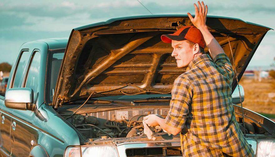 A man's truck won't start