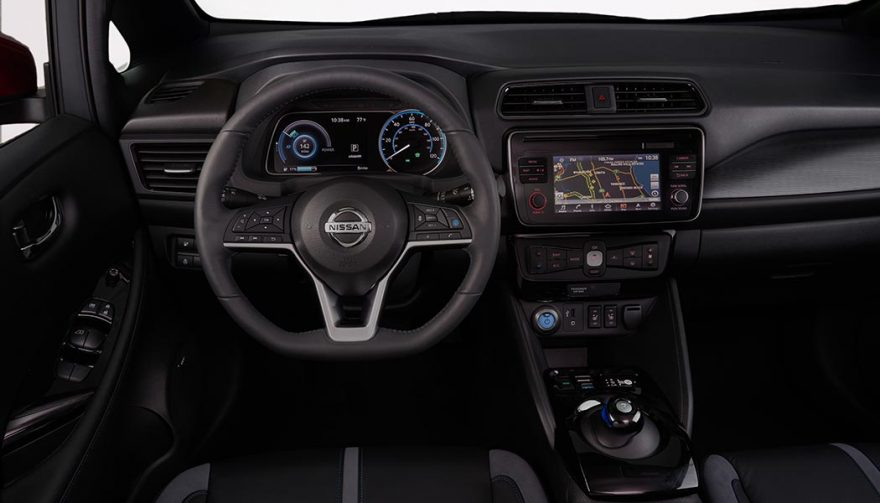 The interior of the 2018 Nissan LEAF