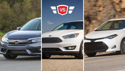 A Honda Civic vs Toyota Corolla vs Ford Focus compact car comparison