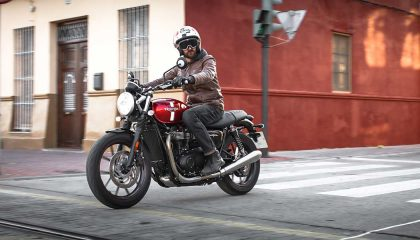 Motorcycle types include the standard Triumph Street Twin