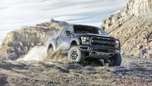 A Ford truck uses autonomous off road driving features
