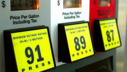 A pump show premium vs regular gas prices