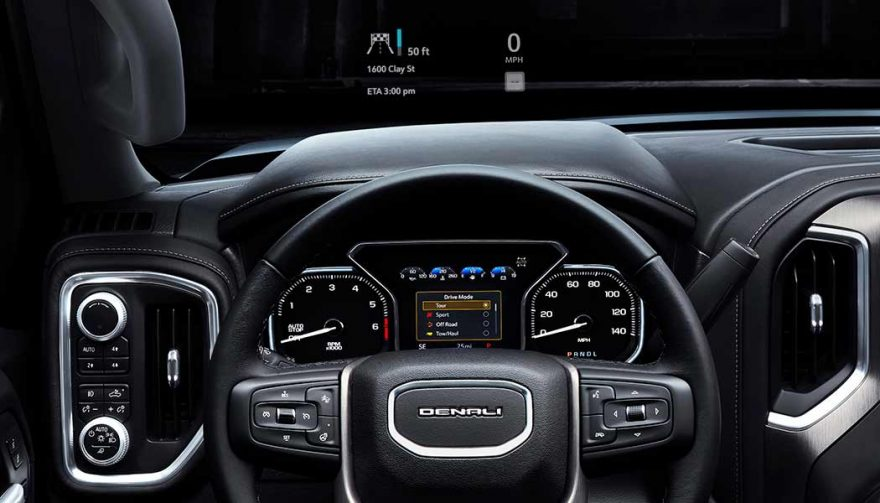 Head-up display on the 2019 GMC Sierra