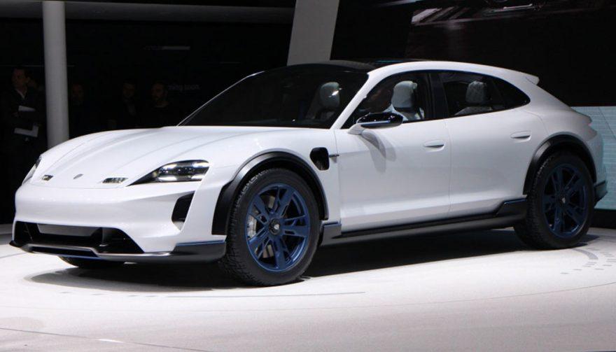 The Porsche Mission E Cross Turismo at the Geneva Auto Show