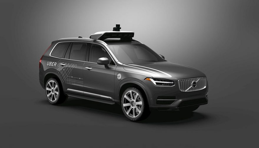A Volvo XC90 Uber self-driving car