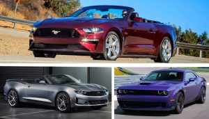 Cheap power and torque are the hallmarks of the Dodge Challenger, the Chevrolet Camaro, and the 2019 Ford Mustang GT Convertible. Here's how they stack up